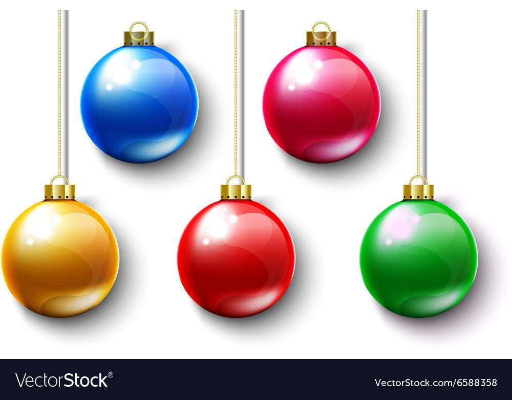 Colorful Ball Christmas Gold Chain vector image
