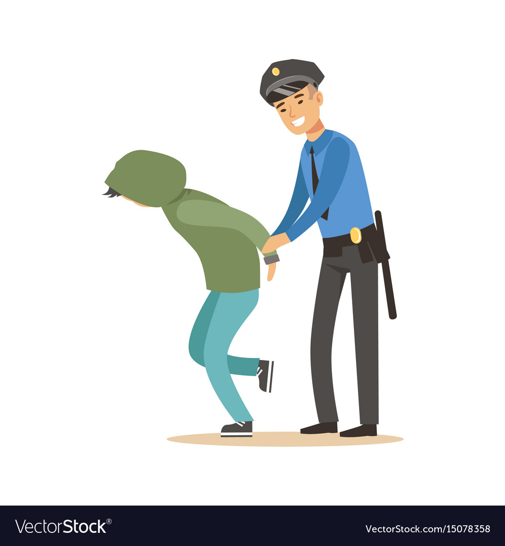 Police officer arresting criminal character vector image