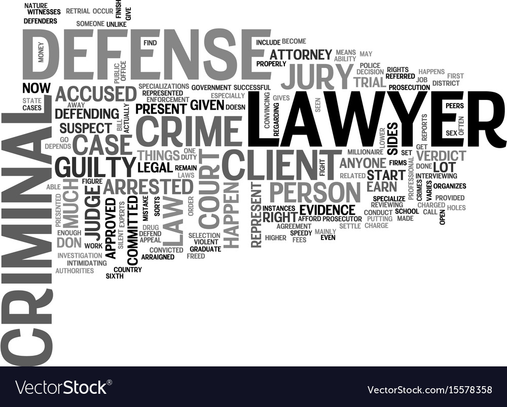 What is a criminal defense lawyer text word cloud vector image