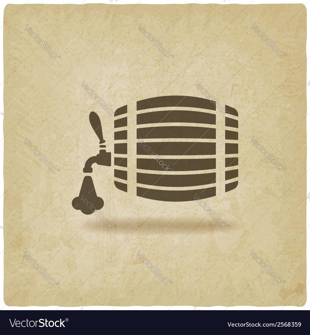 Beer barrel old background vector image