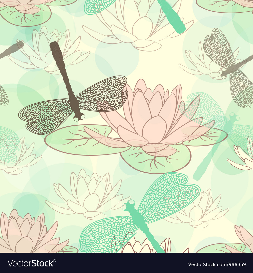 Seamless pattern with lotus flower and dragonflies seamless pattern with lotus flower and dragonflies vector image izmirmasajfo Gallery