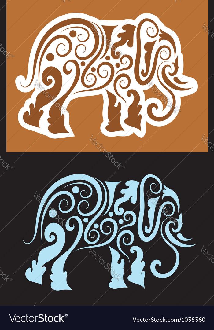 Elephant cutting sticker vector image