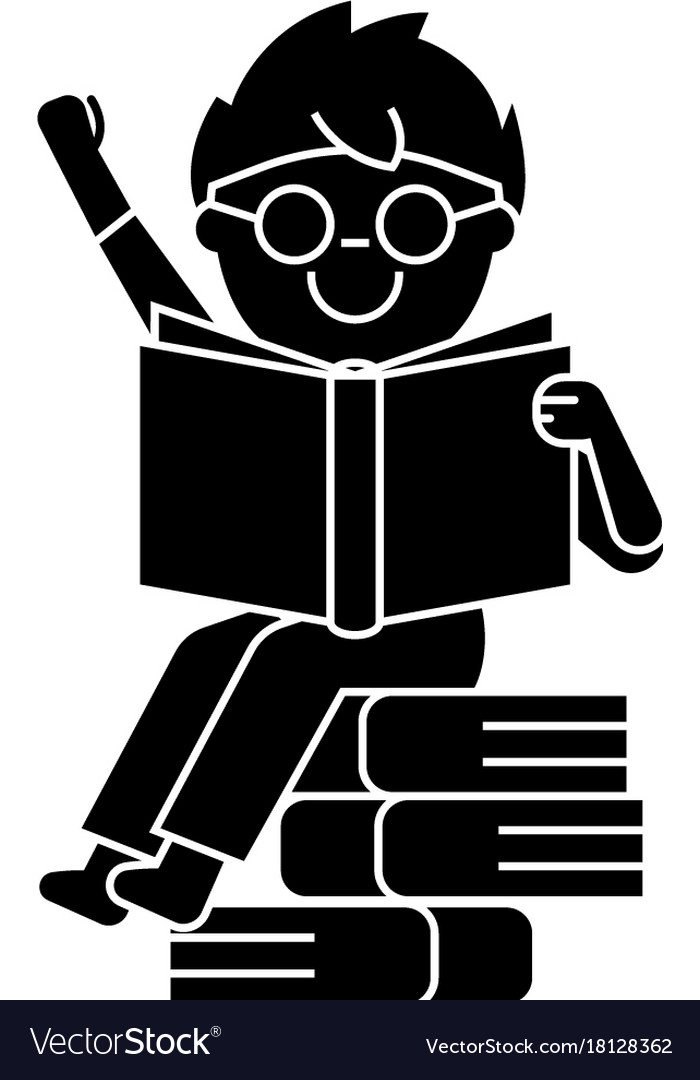 Boy reading book sitting on books icon vector image