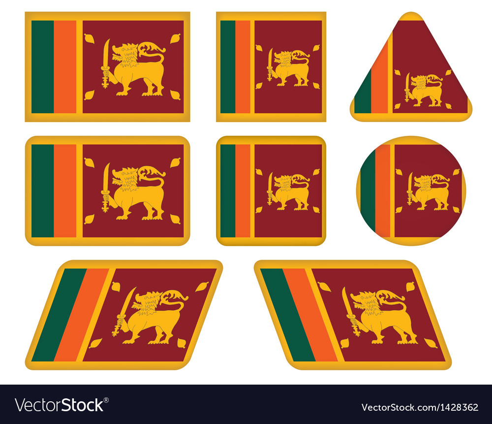 Buttons with flag of Sri Lanka vector image