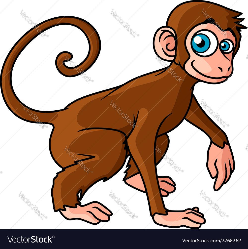 Cartoon brown monkey character vector image