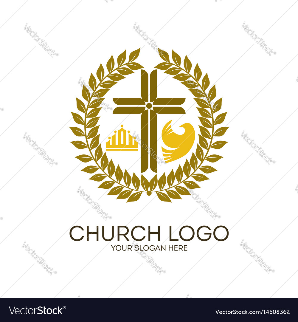 Wreath jesus cross crown and dove vector image