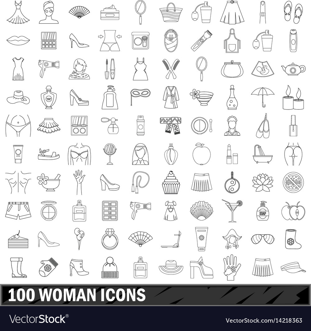 100 woman icons set outline style vector image