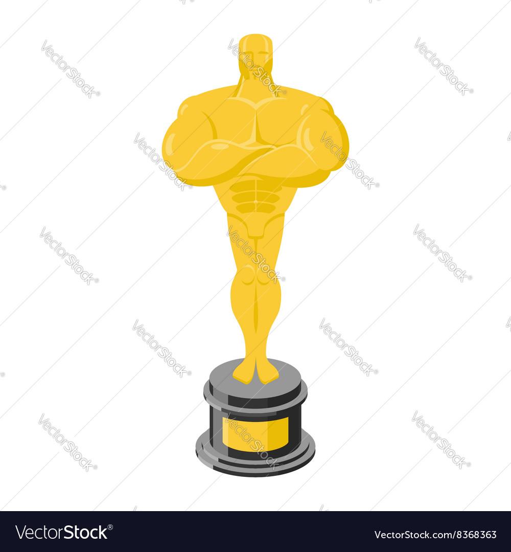 Golden statuette isolated Golden statue on white vector image