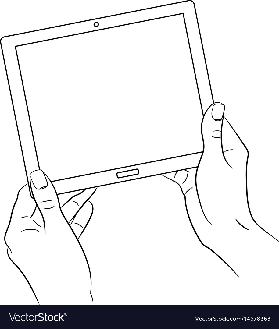 Woman hands holding a tablet on white background vector image