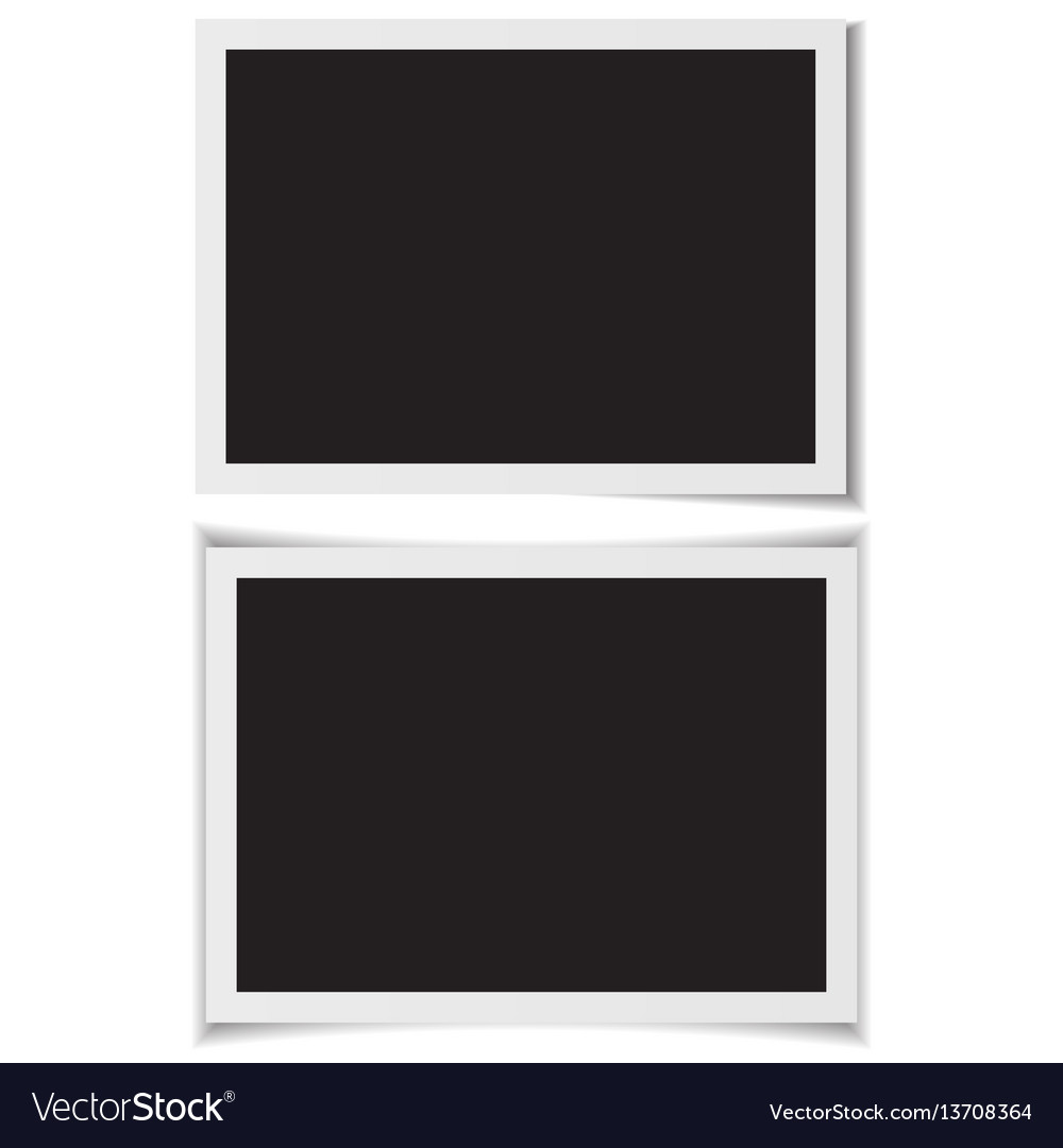 Blank photo frames with shadow on back vector image