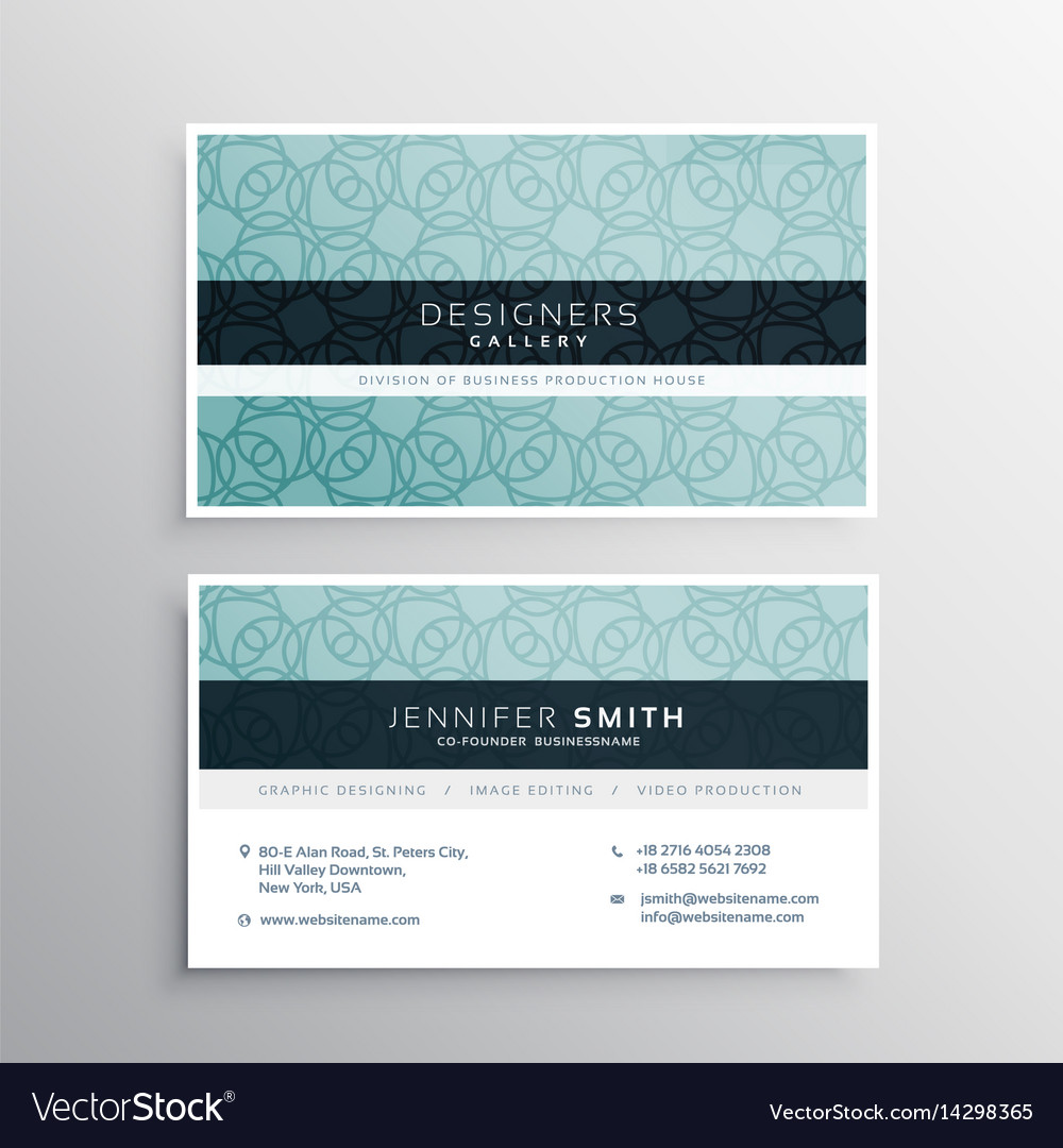 Company business card with blue pattern shapes Vector Image