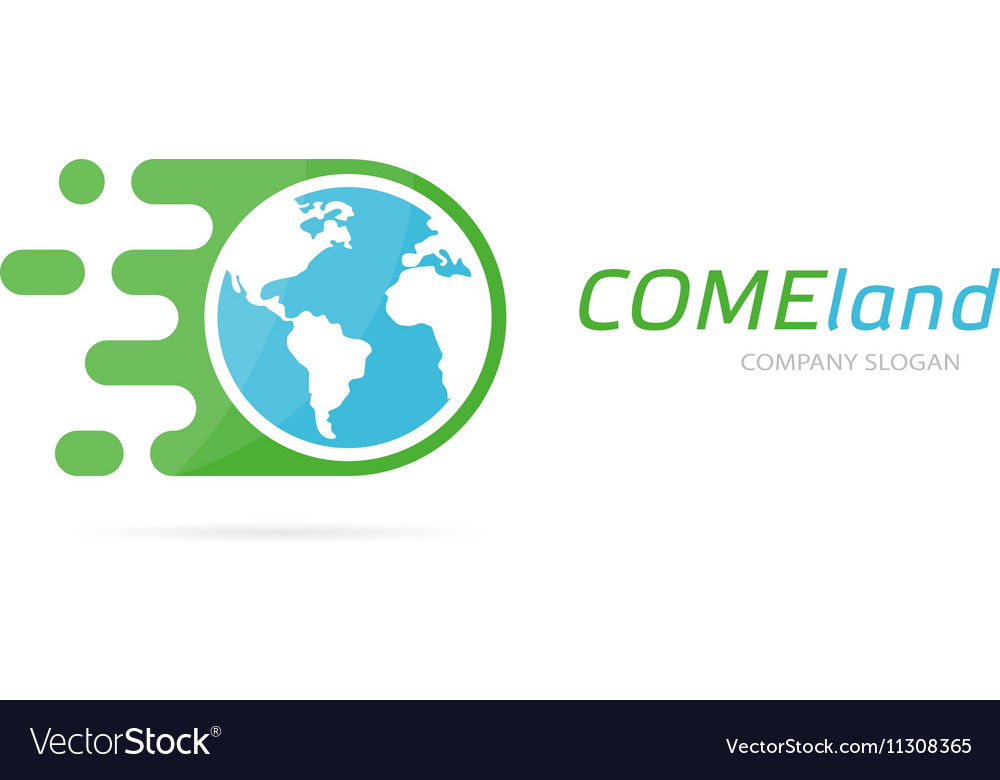 Fast earth logo combination Speed world vector image