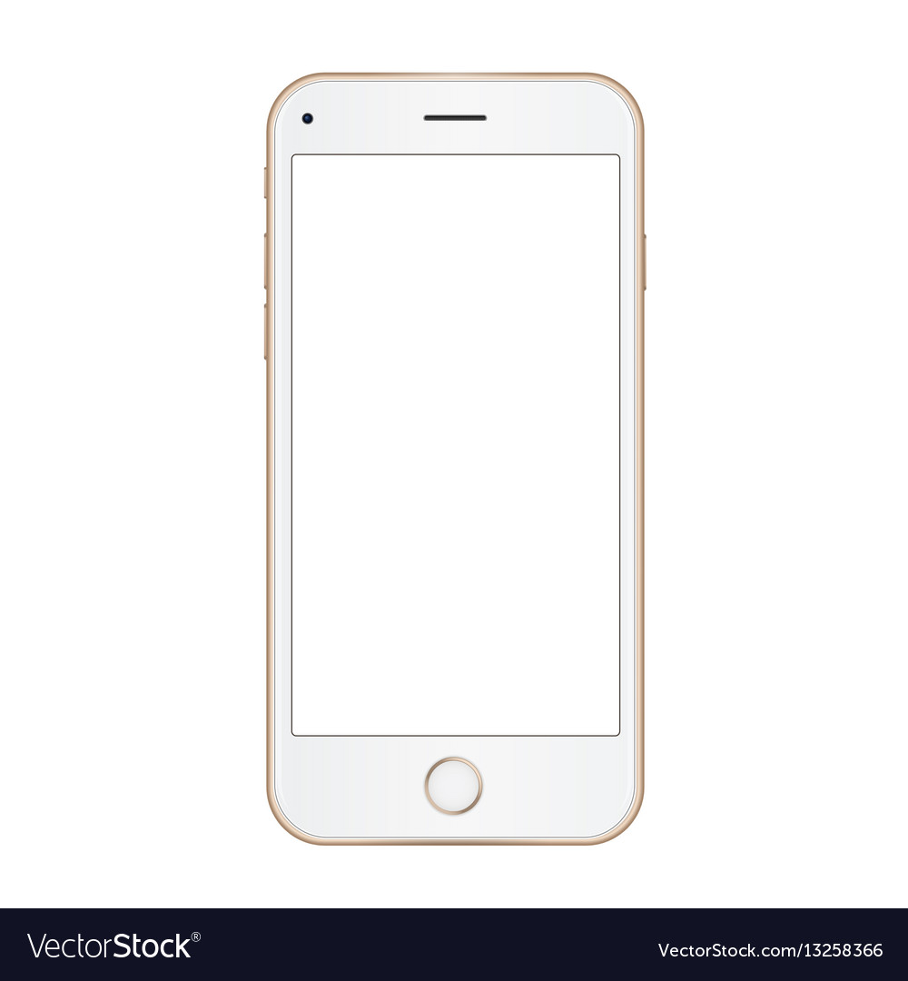 gold frame mobile phone with empty screen vector image - Mobile Frame