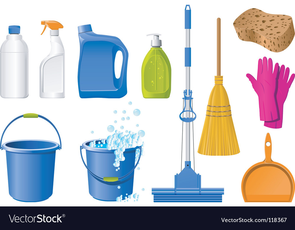 Cleaning icons vector image