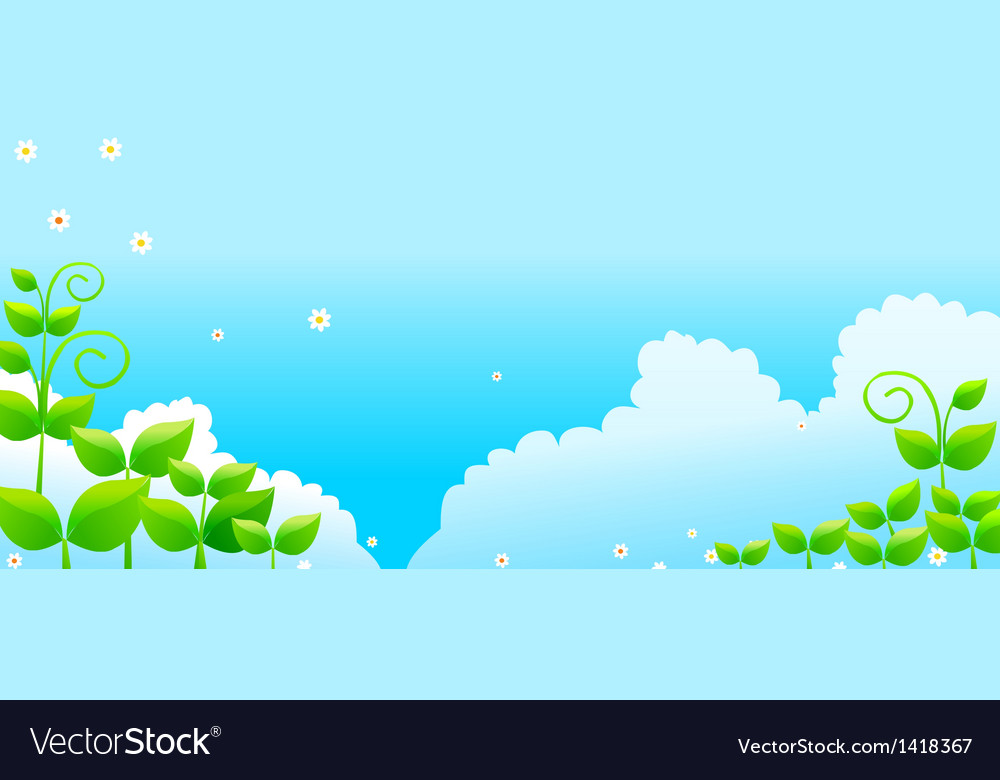 Blue Sky with Green Leaves vector image