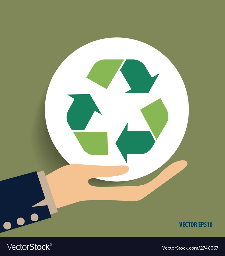 Hand with recycle symbol symbol on the packaging vector image buycottarizona Images