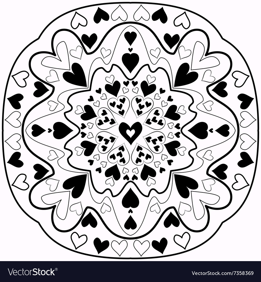 black and white abstract zentangle heart mandala vector image