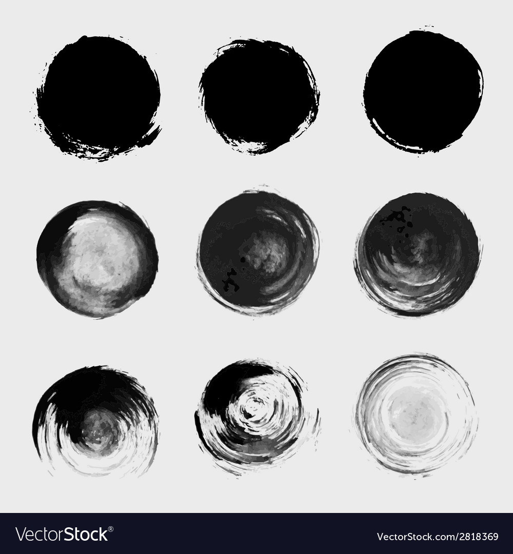 Grunge paint circle element set Brush smear stain vector image