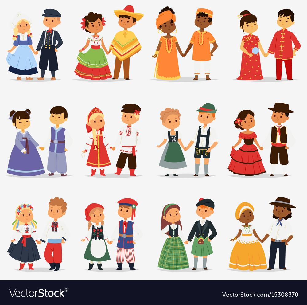 Lttle kids children couples character of world vector image