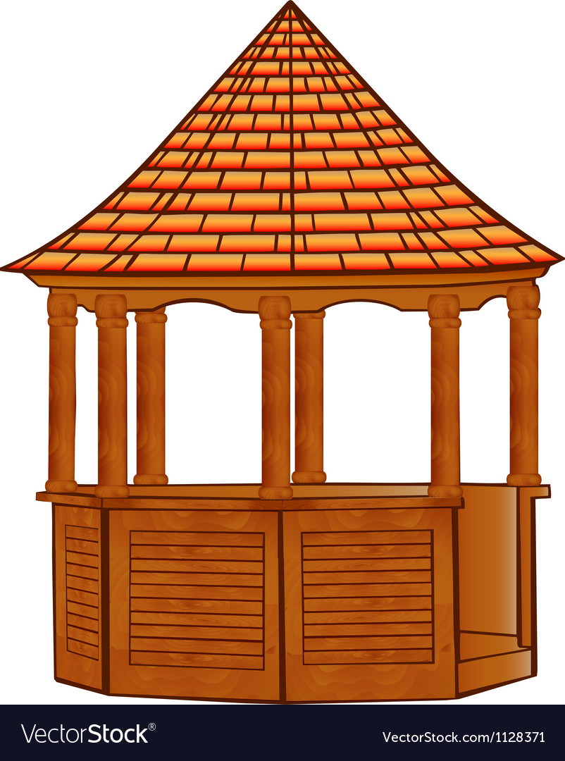 A wooden gazebo on white vector image