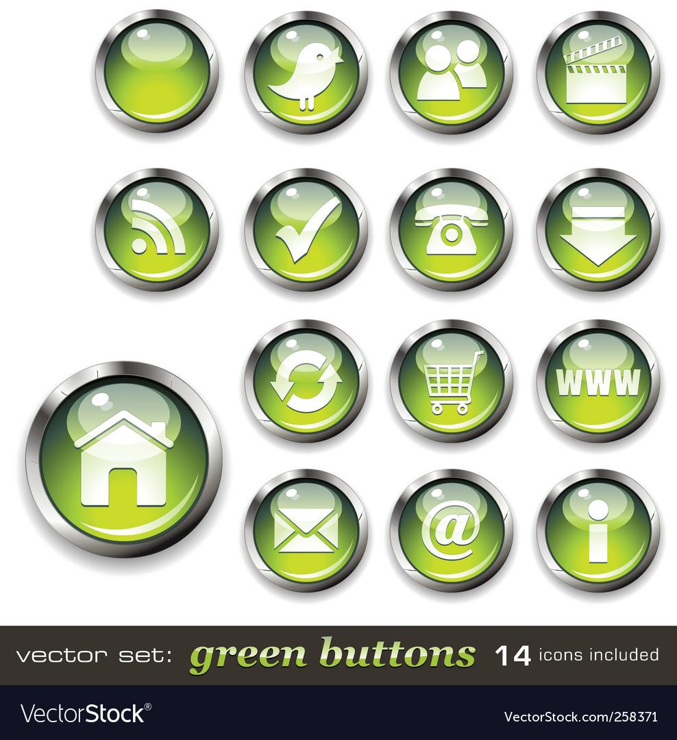 Green aqua style web buttons vector image