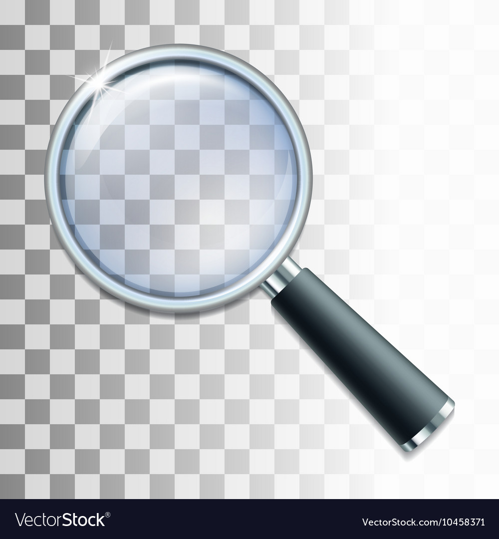 Magnifying glass on transparent background vector image