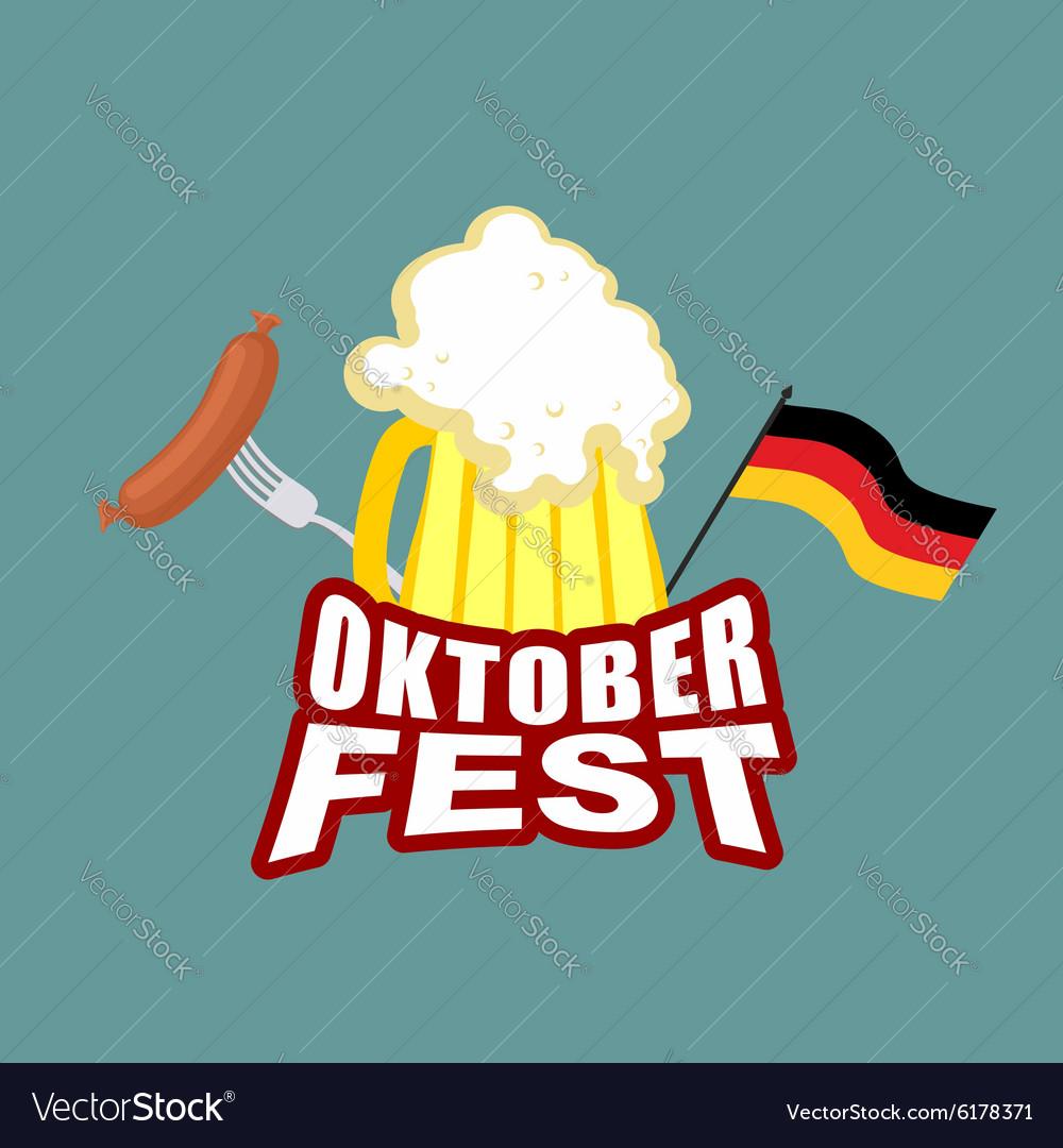 Oktoberfest beer and sausages German flag Beer vector image