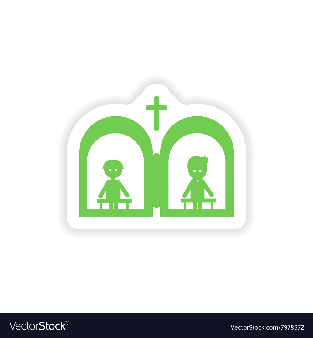 Paper sticker on white background Christian