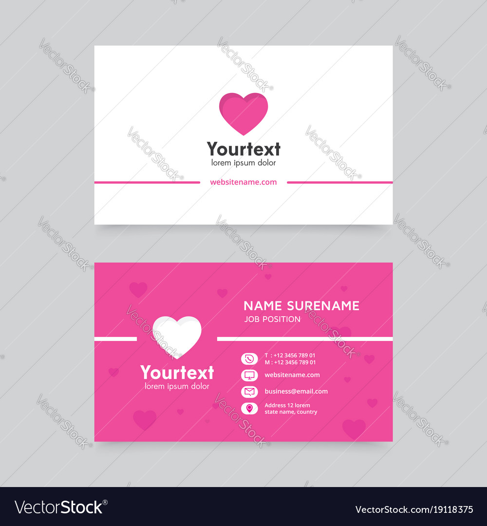 Business card template with hearth symbol Vector Image