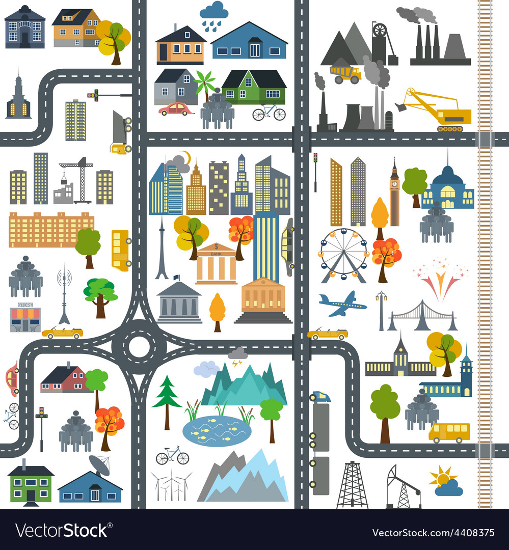City map generator City map example Elements for vector image