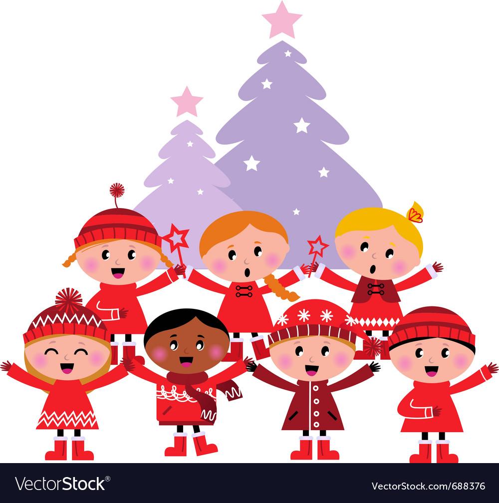 Caroling christmas kids Vector Image