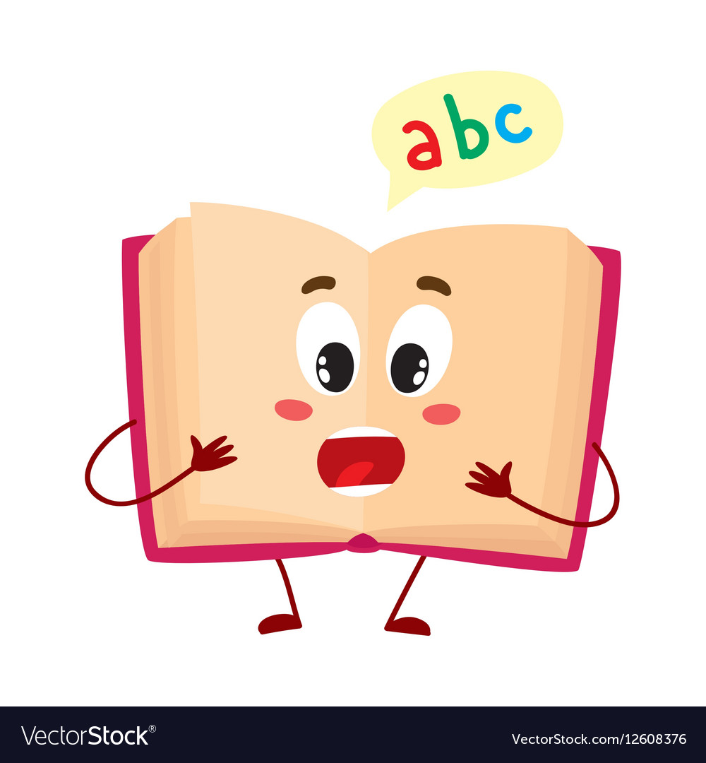 Funny open ABC book character with surprised face vector image