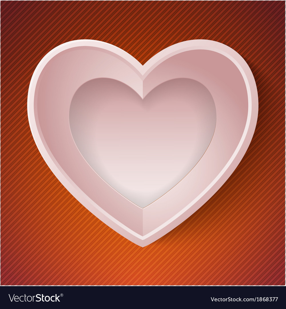 Heart happy Valentine day love paper 3D frame vector image