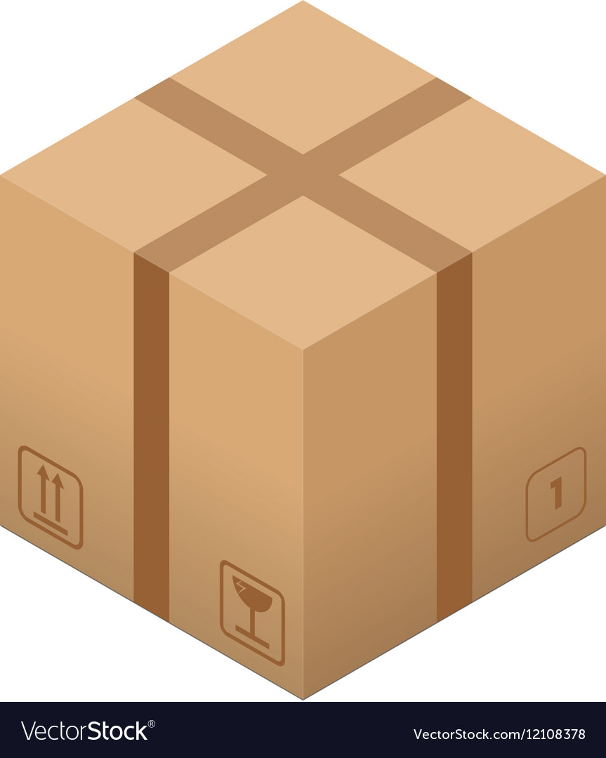 Flat carton box with torn tape and cargo signs vector image