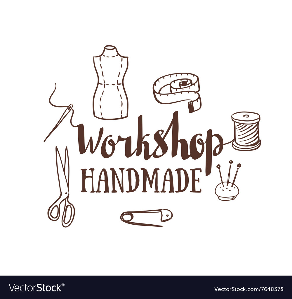 Hand drawn typography poster with dressmaking vector image