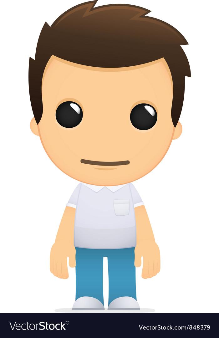 Funny cartoon casual man vector image