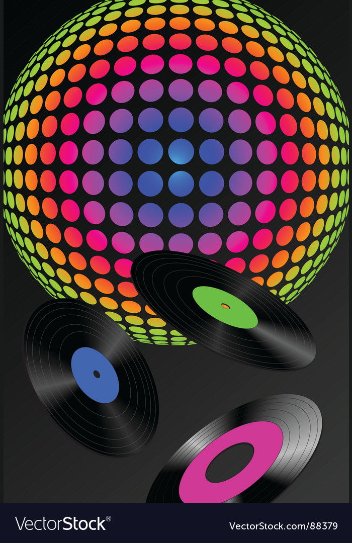 DJ records background vector image