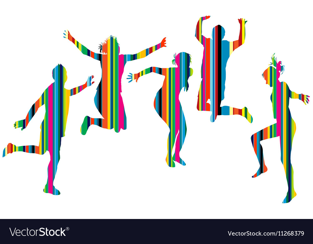 Striped silhouettes of people jumping vector image
