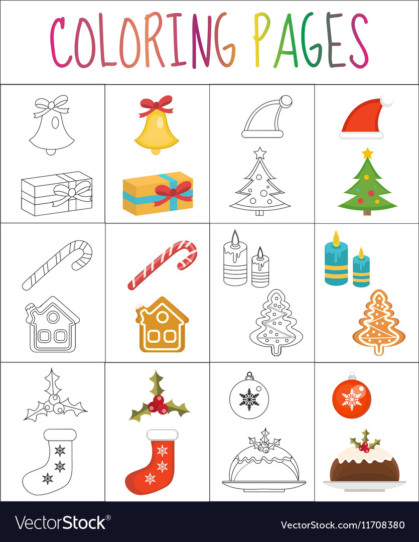 Coloring book page Christmas set Sketch and vector image