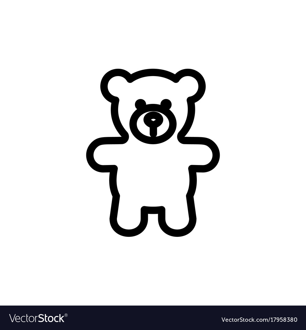 Teddy bear plush thin line icon outline symbol vector image