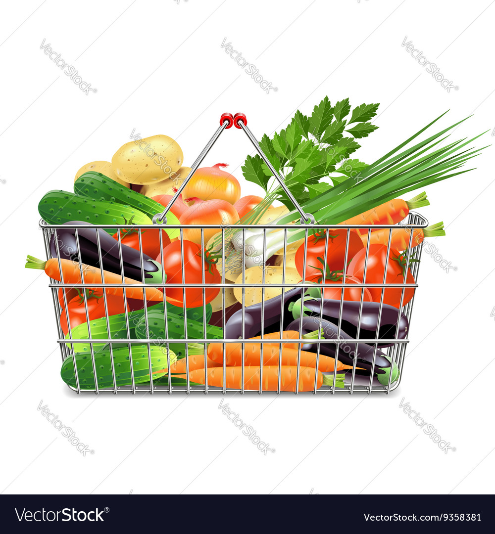 Supermarket Basket With Vegetables Vector Image