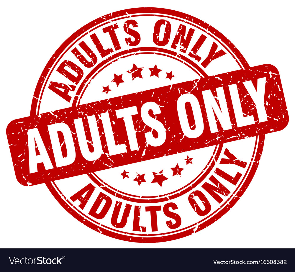 Adults only red grunge stamp vector image