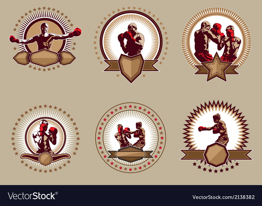 Set of six circular boxing icons or emblems vector image