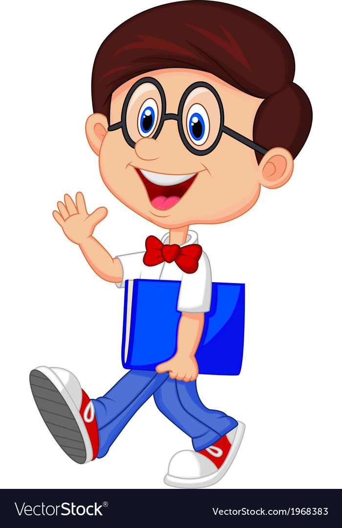 Funny geek cartoon with big glasses in white shirt vector image