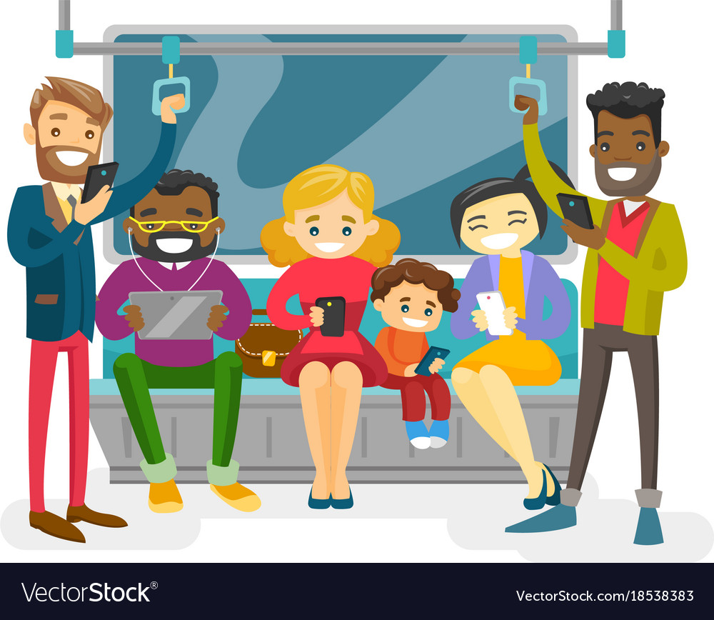 Multicultural people traveling by public transport vector image