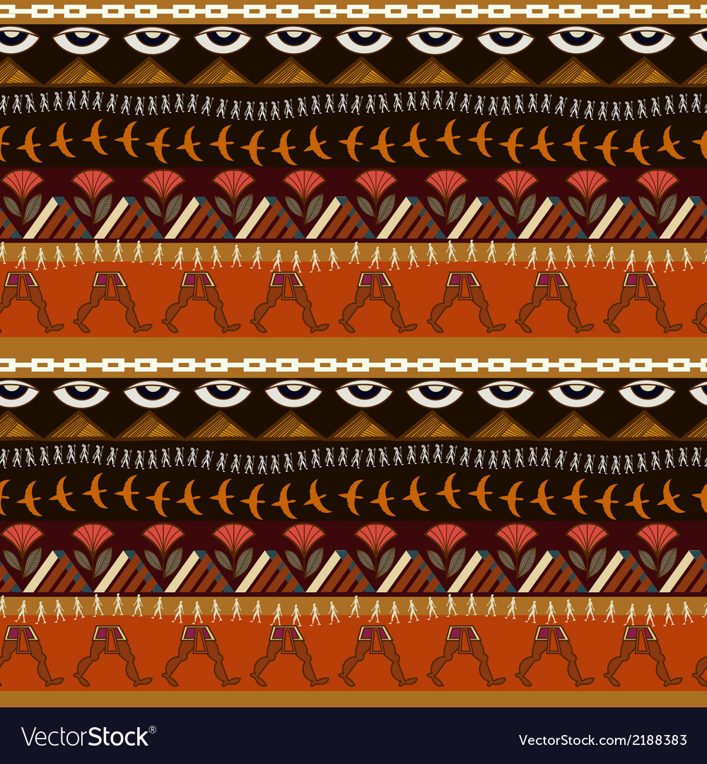 Seamless ethnic pattern in Egyptian style vector image