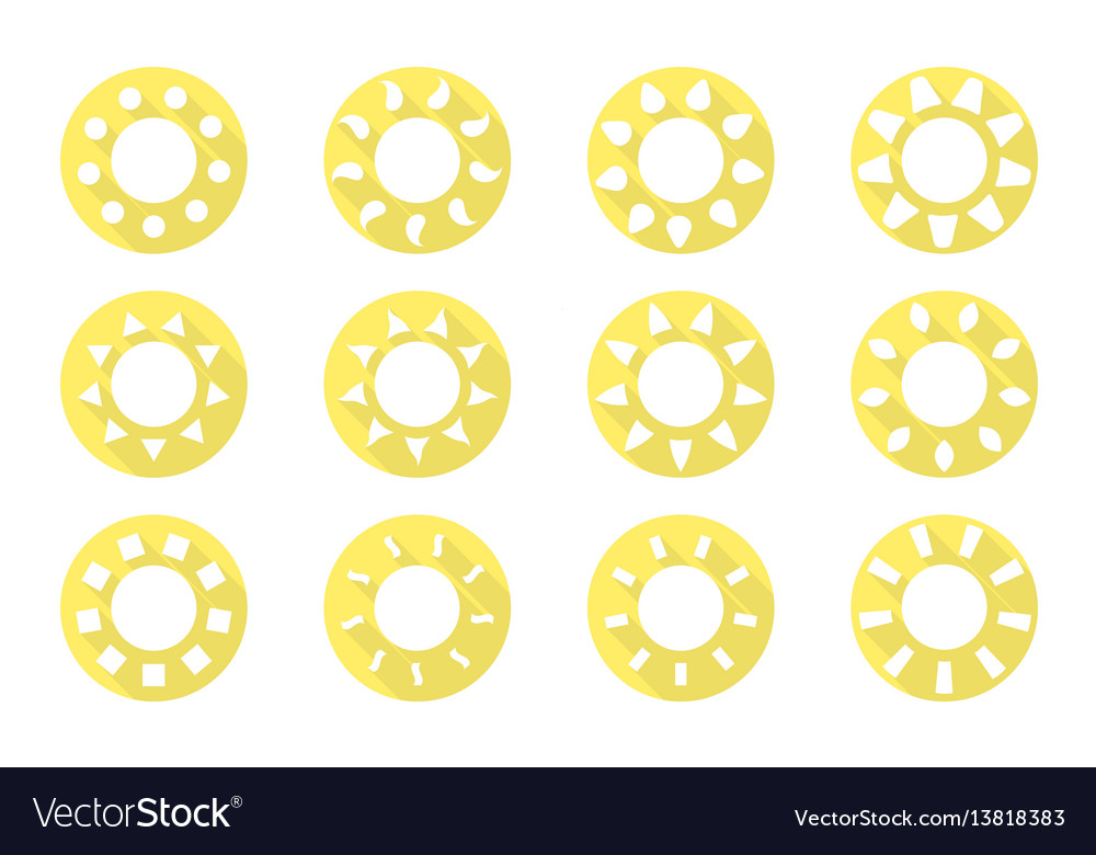 Sun icons set flat design vector image