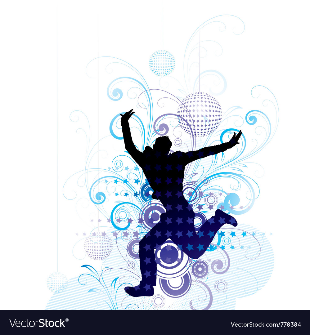 Artistic man jumping poster vector image