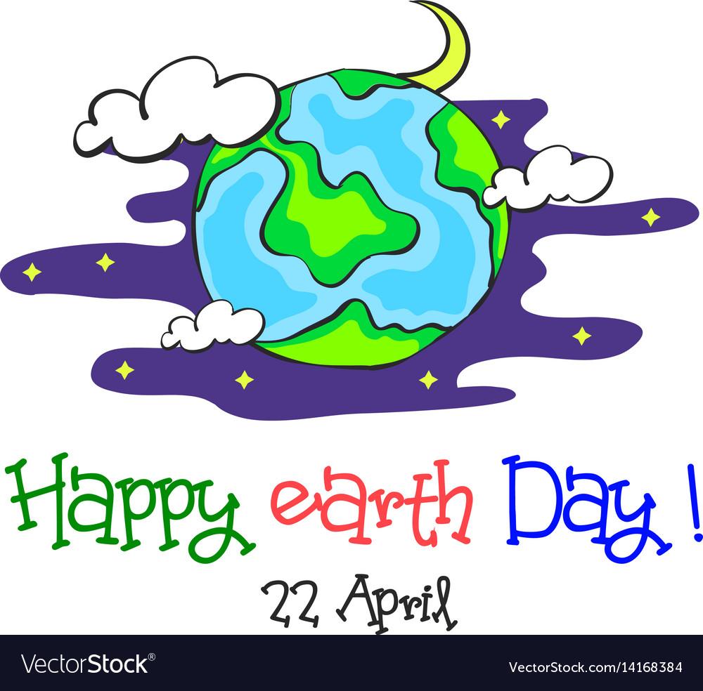 Earth day cartoon world at night vector image