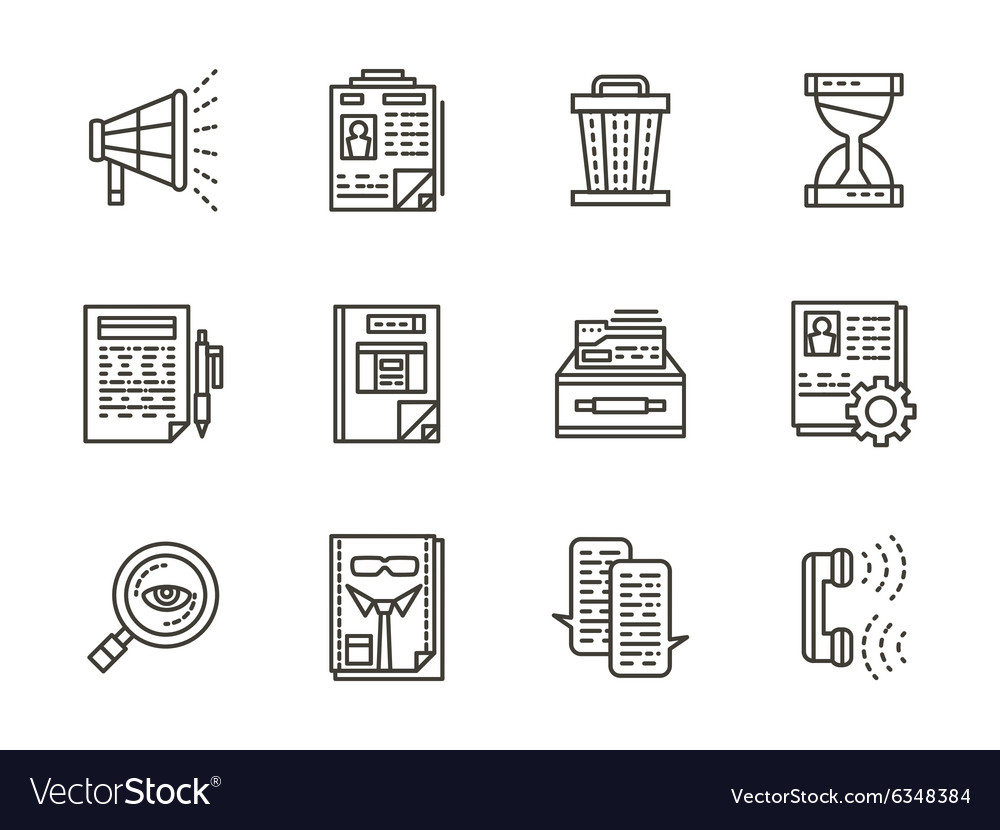 Human resource management black line icons vector image
